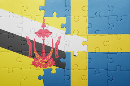 puzzle with the national flag of sweden and brunei . concept