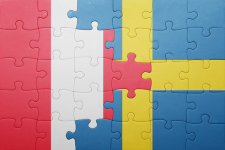 lima region: puzzle with the national flag of sweden and peru . concept