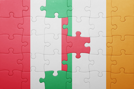 lima region: puzzle with the national flag of ireland and peru . concept