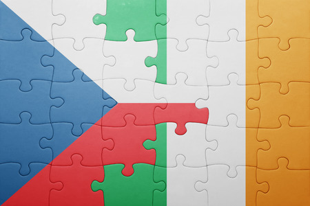 republic of ireland: puzzle with the national flag of ireland and czech republic . concept Stock Photo