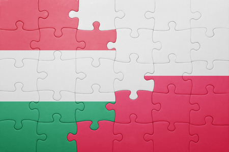 puzzle with the national flag of hungary and poland . concept