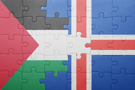 palestine: puzzle with the national flag of palestine and iceland . concept Stock Photo