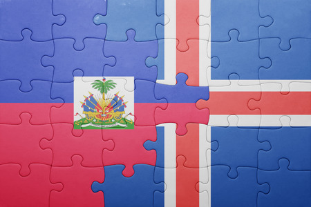 port au prince: puzzle with the national flag of haiti and iceland . concept Stock Photo