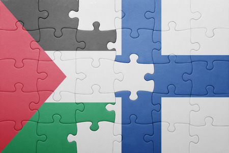 palestine: puzzle with the national flag of palestine and finland . concept Stock Photo