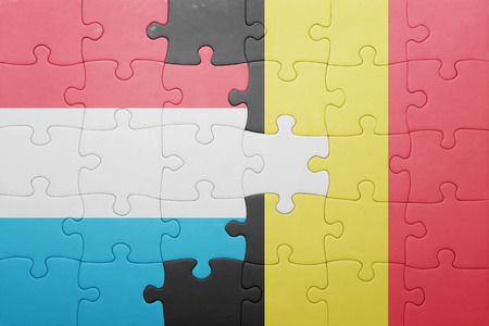 puzzle with the national flag of luxembourg and belgium . concept Stock Photo