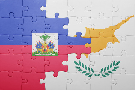 port au prince: puzzle with the national flag of cyprus and haiti . concept