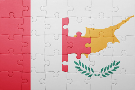 lima region: puzzle with the national flag of cyprus and peru . concept Stock Photo