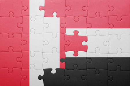lima region: puzzle with the national flag of peru and yemen . concept Stock Photo