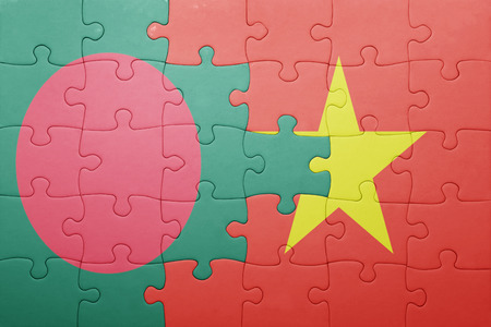national flag bangladesh: puzzle with the national flag of bangladesh and vietnam . concept