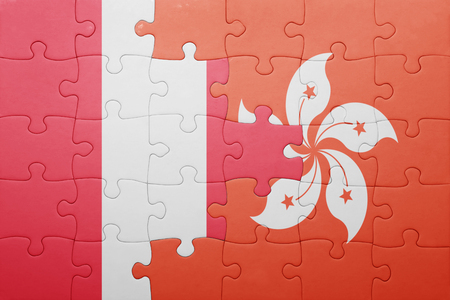 lima region: puzzle with the national flag of peru and hong kong . concept