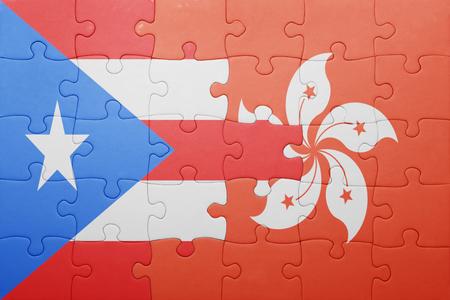 bandera de puerto rico: puzzle con la bandera nacional de Puerto Rico y Hong Kong. concepto