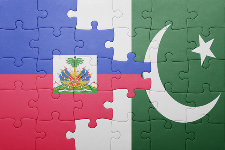 puzzle with the national flag of pakistan and haiti . concept Stock Photo