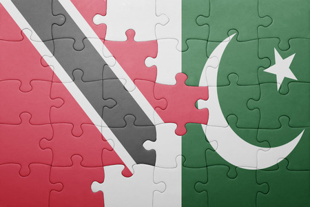 national flag trinidad and tobago: puzzle with the national flag of pakistan and trinidad and tobago . concept