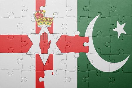 northern ireland: puzzle with the national flag of pakistan and northern ireland . concept