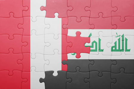 lima region: puzzle with the national flag of peru and iraq . concept