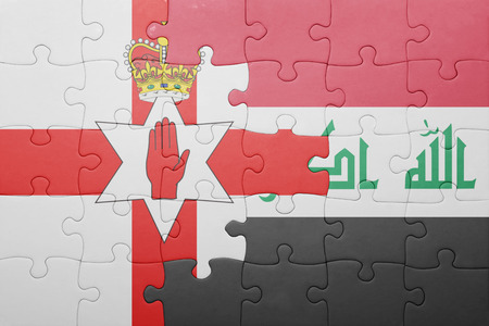 northern ireland: puzzle with the national flag of northern ireland and iraq . concept