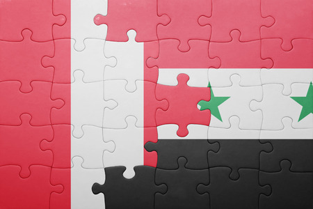 lima region: puzzle with the national flag of peru and syria . concept