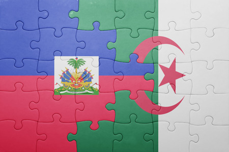 port au prince: puzzle with the national flag of algeria and haiti . concept