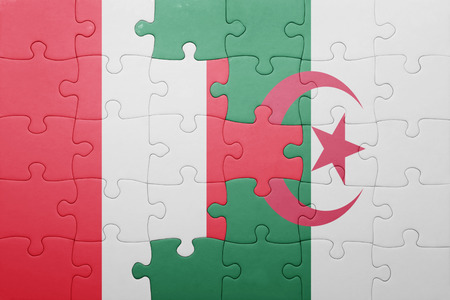 lima region: puzzle with the national flag of algeria and peru . concept