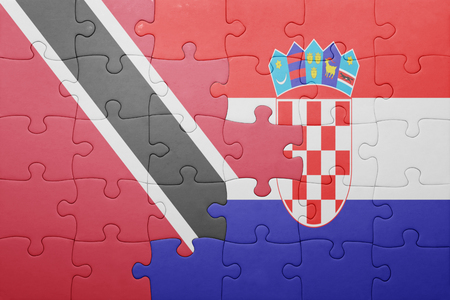 national flag trinidad and tobago: puzzle with the national flag of  trinidad and tobago and croatia . concept