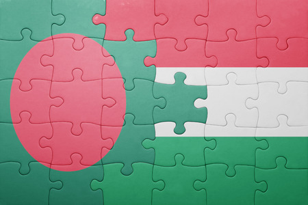 national flag bangladesh: puzzle with the national flag of bangladesh and hungary . concept