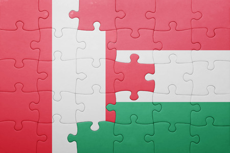 lima region: puzzle with the national flag of peru and hungary . concept