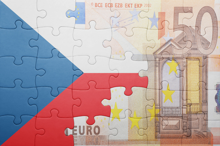 czech: puzzle with the national flag of czech republic and euro banknote . concept Stock Photo
