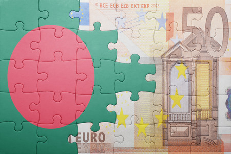 europe flag: puzzle with the national flag of bangladesh and euro banknote . concept