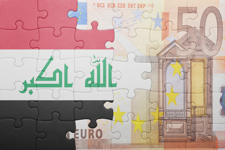 european integration: puzzle with the national flag of iraq and euro banknote . concept