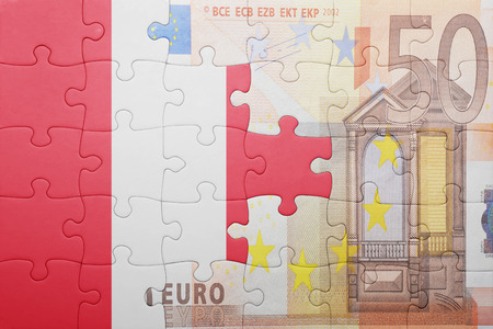 lima region: puzzle with the national flag of peru and euro banknote . concept Stock Photo