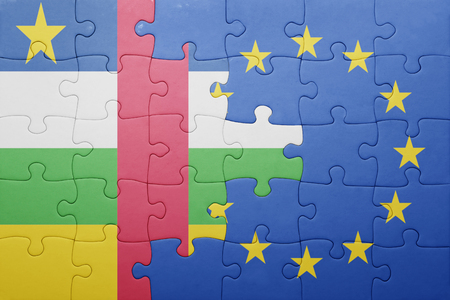 central european: puzzle with the national flag of central african republic and european union . concept