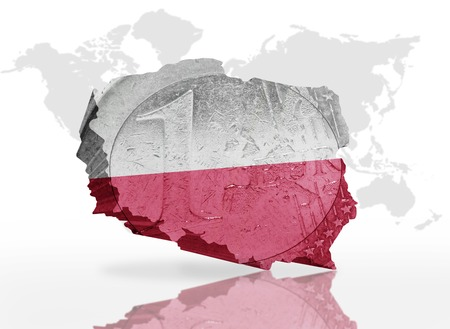 patriotism: map of poland on the euro coin texture with poland flag on the  a world map background Stock Photo