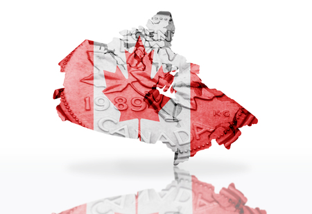 canadian coin: map of canada on the canadian coin texture with canadian flag on the  white background