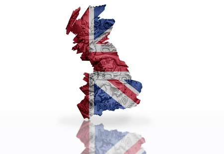 gb pound: map of great britain on the british pound coin texture with british flag on the  white background Stock Photo
