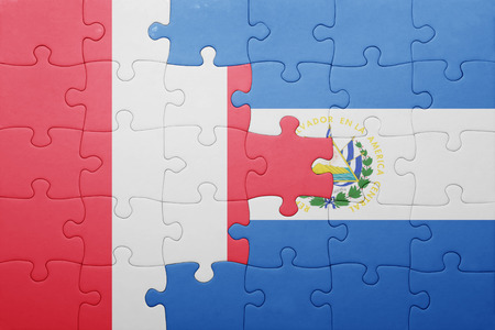 lima region: puzzle with the national flag of el salvador and peru . concept