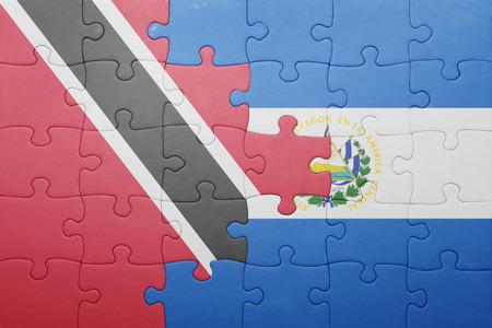 national flag trinidad and tobago: puzzle with the national flag of el salvador and trinidad and tobago . concept Stock Photo