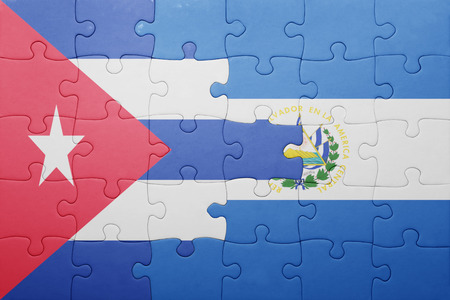 el salvadoran: puzzle with the national flag of el salvador and cuba . concept