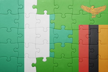 zambian: puzzle with the national flag of zambia and nigeria . concept Stock Photo
