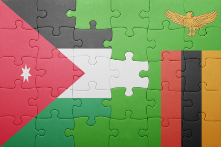 zambian: puzzle with the national flag of zambia and jordan . concept