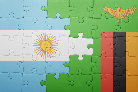 zambian: puzzle with the national flag of zambia and argentina . concept Stock Photo