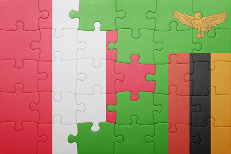 lima region: puzzle with the national flag of zambia and peru . concept Stock Photo
