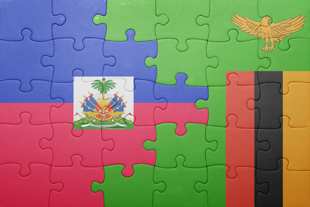 port au prince: puzzle with the national flag of zambia and haiti . concept