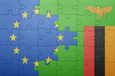 zambian flag: puzzle with the national flag of zambia and european union . concept Stock Photo