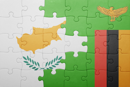 zambian: puzzle with the national flag of zambia and cyprus . concept Stock Photo
