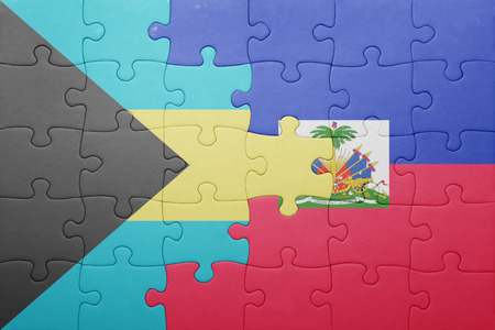 port au prince: puzzle with the national flag of haiti and bahamas .concept
