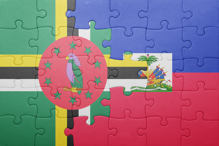port au prince: puzzle with the national flag of haiti and dominica .concept Stock Photo