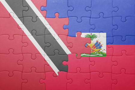 port au prince: puzzle with the national flag of haiti and trinidad and tobago .concept