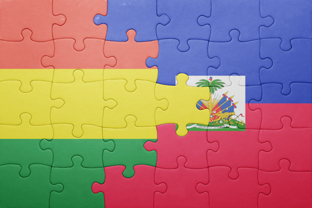 port au prince: puzzle with the national flag of haiti and bolivia .concept