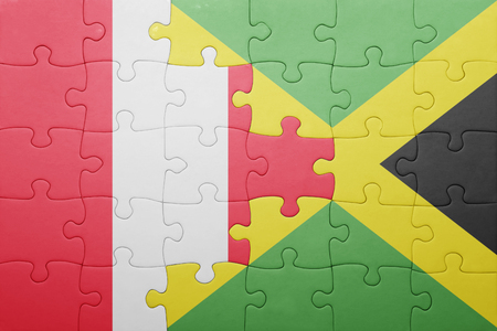 lima region: puzzle with the national flag of jamaica and peru .concept Stock Photo