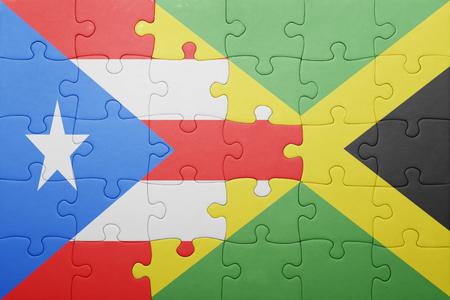 bandera de puerto rico: puzzle con la bandera nacional de Jamaica y Puerto Rico .concept